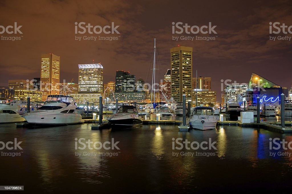 Inner Harbor at Night royalty-free stock photo