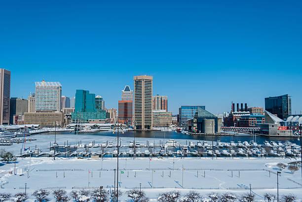 Inner Harbor, Baltimore Burried in Snowpocalypse stock photo