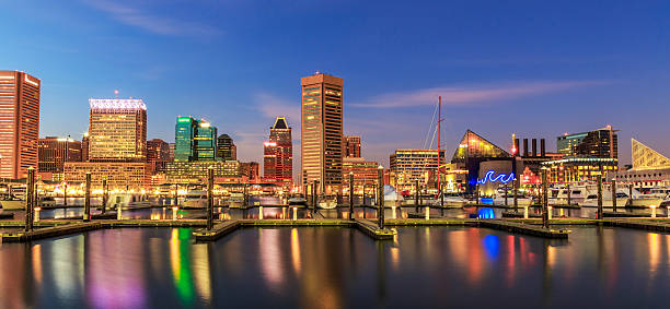 Inner Harbor Baltimore Maryland at night Inner Harbor Baltimore Maryland at night inner harbor baltimore stock pictures, royalty-free photos & images