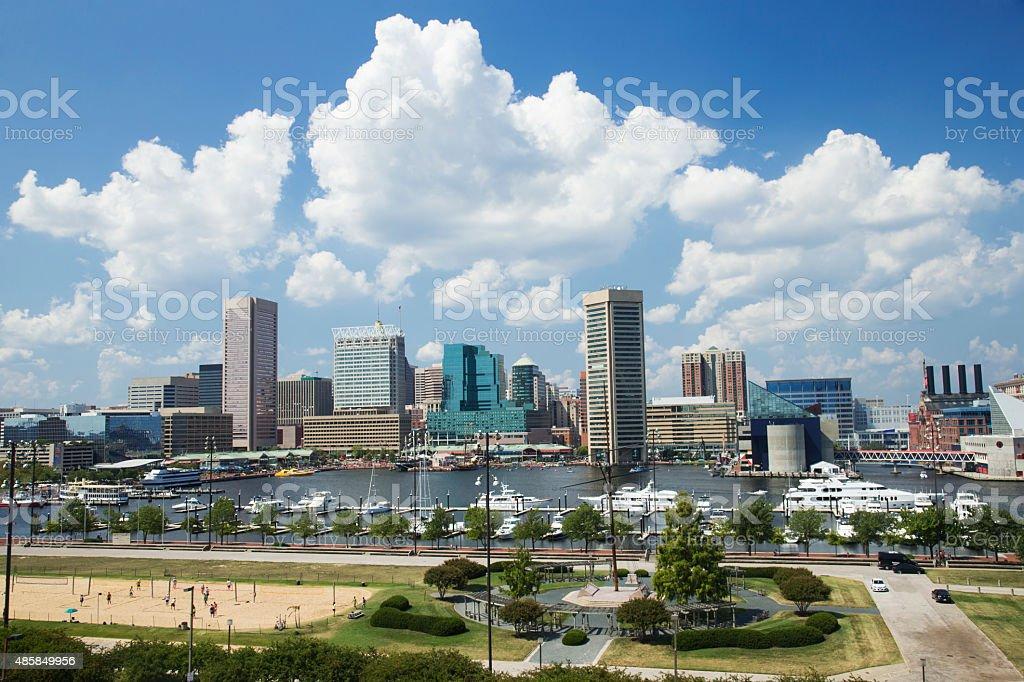 Inner Harbor of Baltimore Maryland stock photo