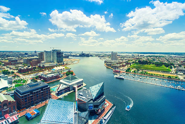 Inner Harbor of Baltimore, Maryland Aerial view of the Inner Harbor of Baltimore, Maryland on a clear summer day baltimore maryland stock pictures, royalty-free photos & images