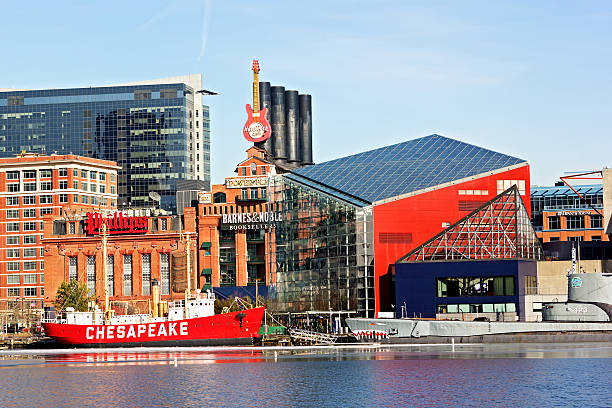 Inner Harbor of Baltimore, Pier 3. Baltimore, USA - January 31, 2014: The Lightship Chesapeake and the USS Torsk submarine docked in front of the National Aquarium. inner harbor baltimore stock pictures, royalty-free photos & images