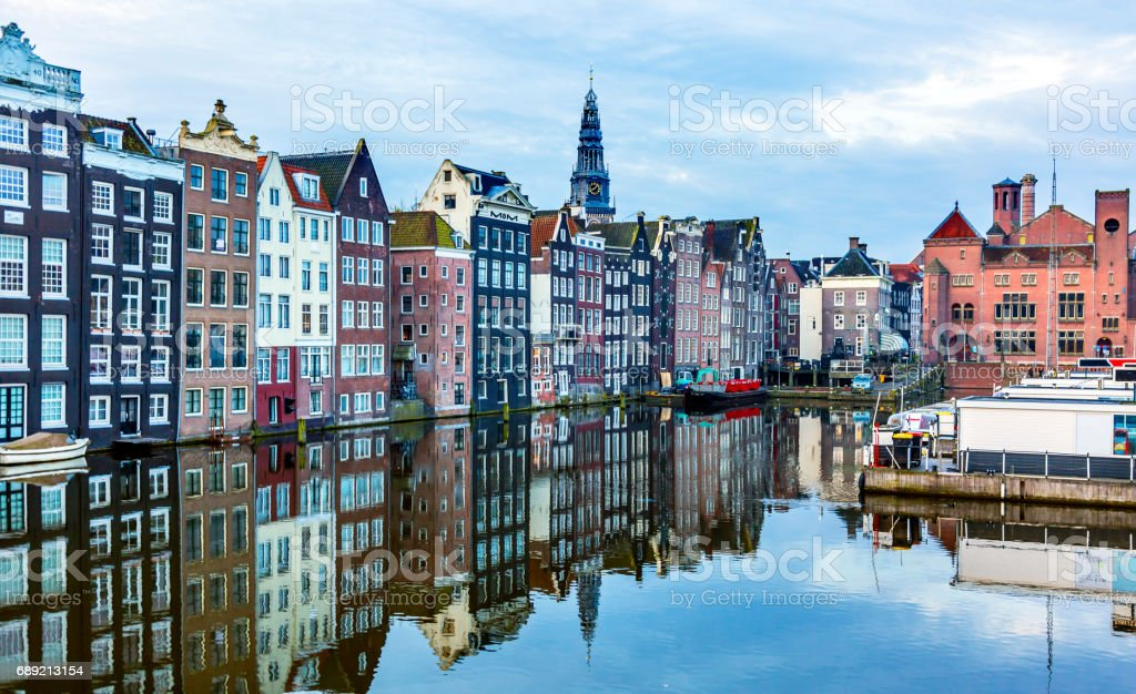 Inner Harbor Old City Boats Reflection Amsterdam Holland Netherlands stock photo