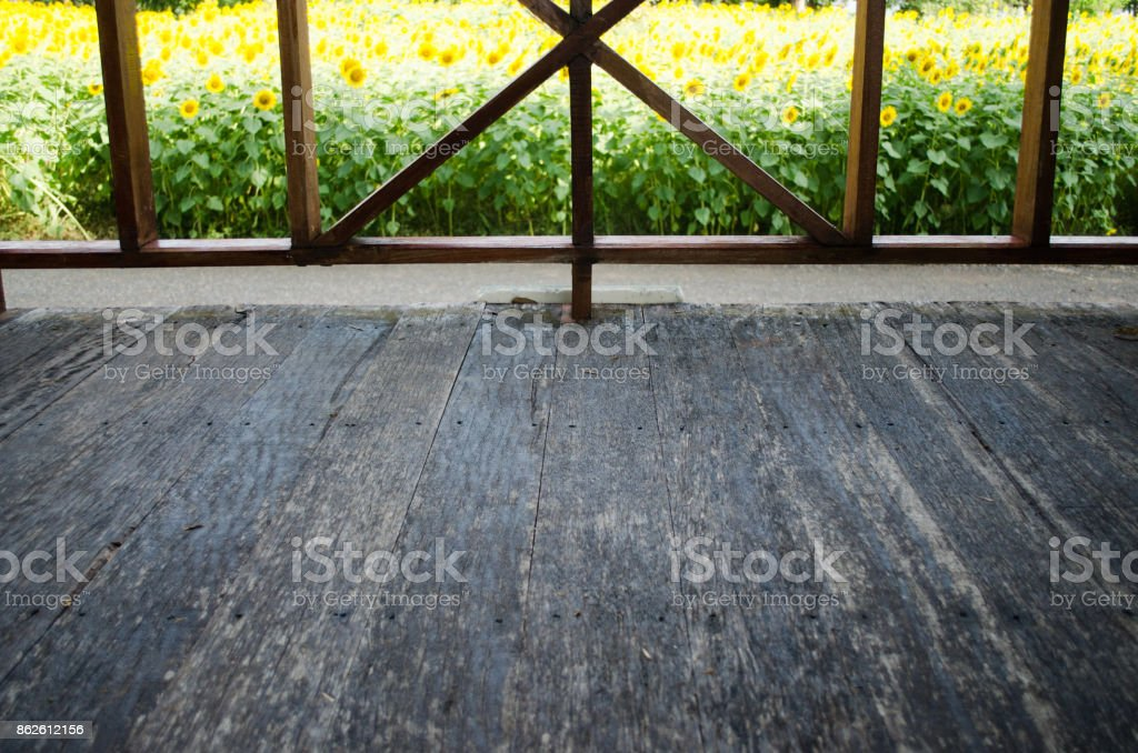 Inner View See to Front Porch Wood Floor stock photo