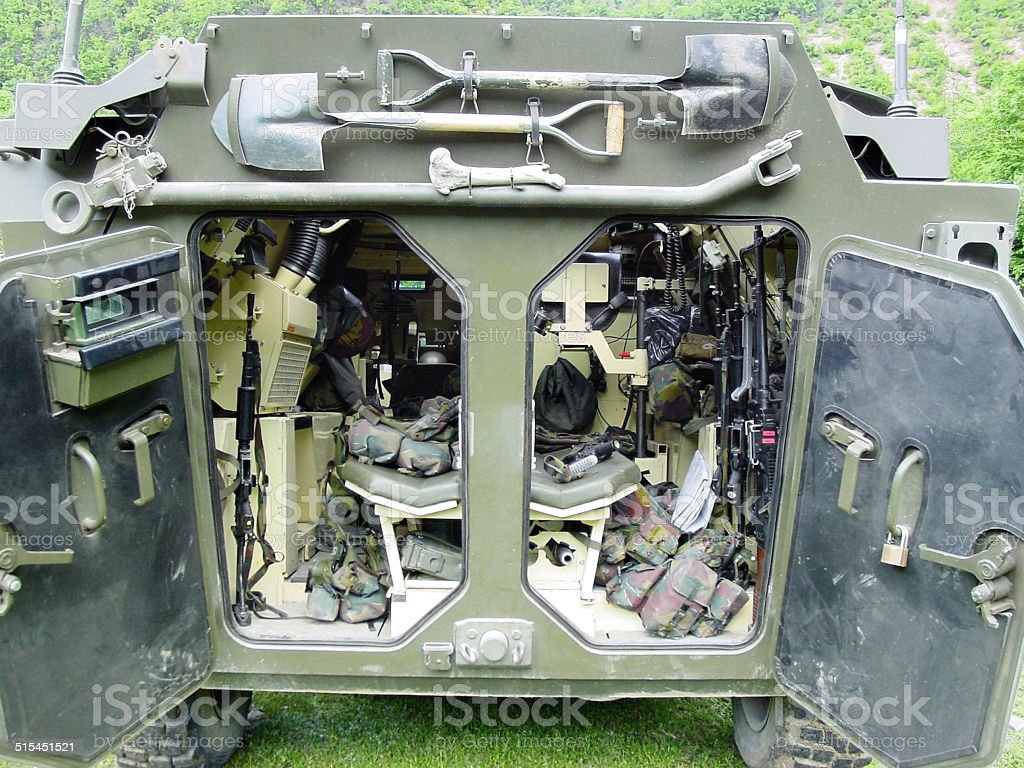Inner workings of a modern army vehicle - Mowag Piranha stock photo