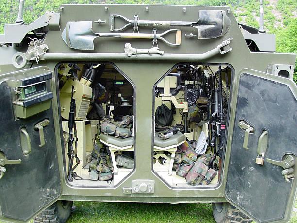Inner workings of a modern army vehicle - Mowag Piranha stock photo
