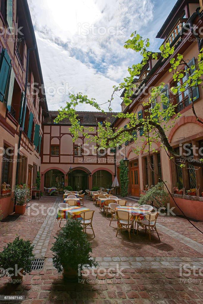 Inner yard in Colmar in Alsace France stock photo