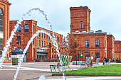 Inner yard Manufaktura, an arts centre, shopping mall, and leisure complex in Lodz, Poland
