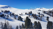 A panoramic view on the snow covered ski runs of Innerkrems, Austria. The slopes are ready for skiing. Cloudless, blue sky. A few trees overgrowing the slopes. Winter wonderland. Fresh, powder snow.