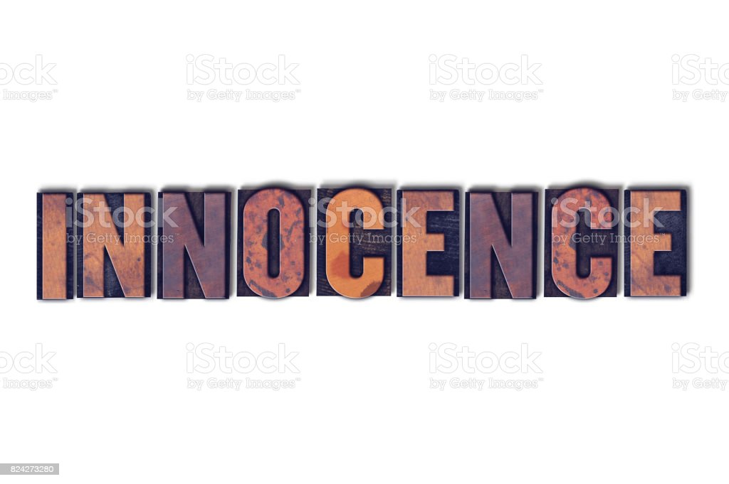 Innocence Concept Isolated Letterpress Word stock photo