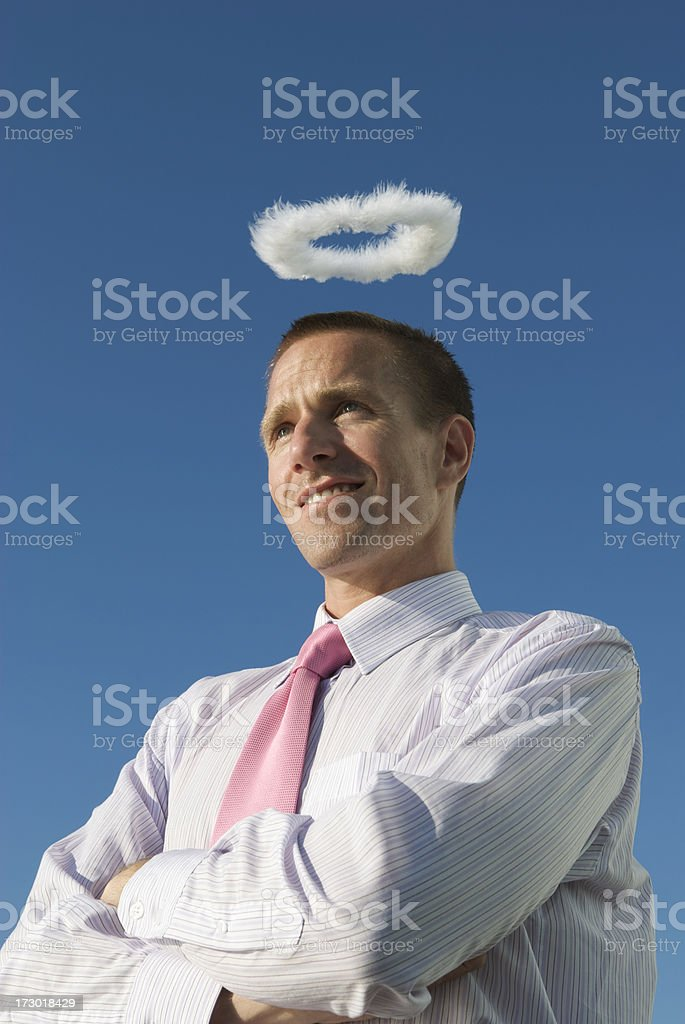 Innocent Angel Smiling Businessman Fluffy Halo Blue Sky stock photo