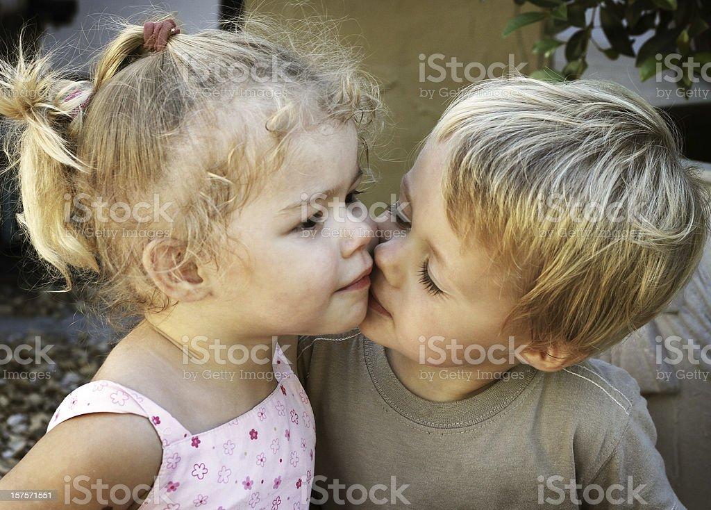 Innocent kiss royalty-free stock photo