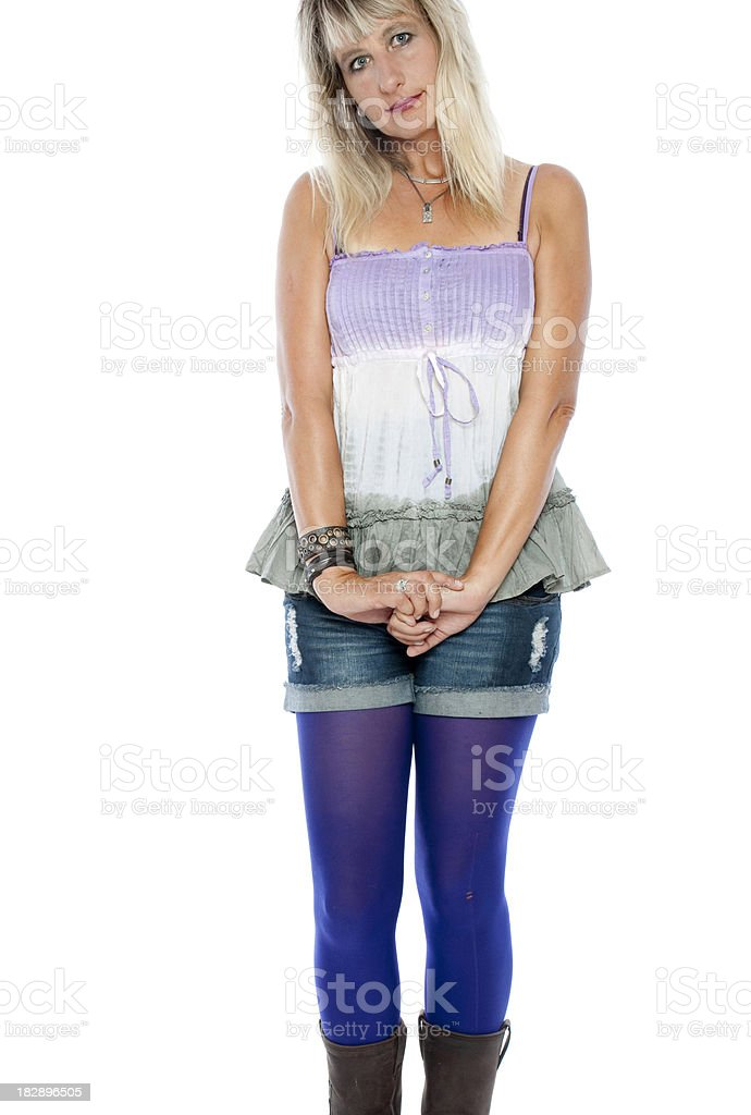 Innocent looking woman in leggins royalty-free stock photo