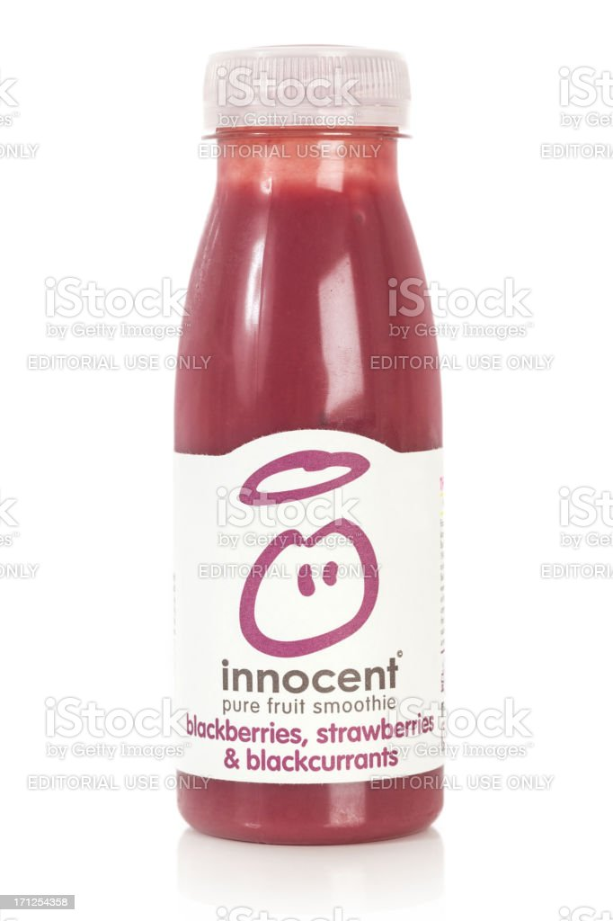 Innocent Pure Fruit Smoothie Blackberries, Strawberries & Blackcurrents stock photo