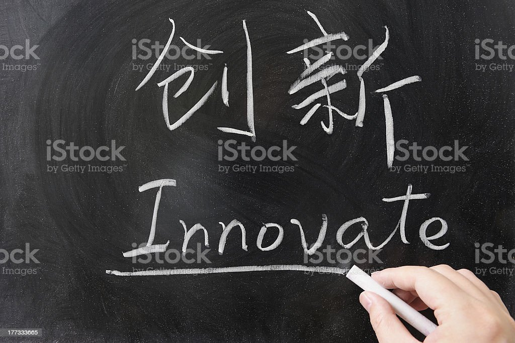 Innovate word in Chinese and English royalty-free stock photo