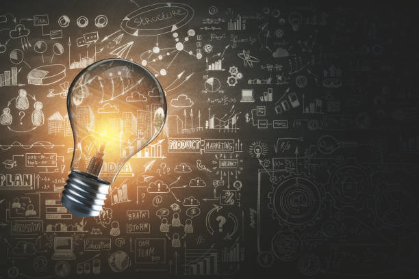 innovatie en onderwijs concept - idee stockfoto's en -beelden