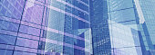 innovation and high tech, business banner background, glass walls of office buildings