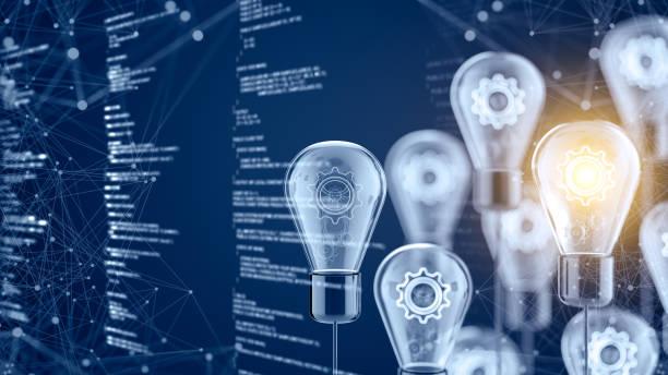 Innovation and new ideas lightbulb concept stock photo
