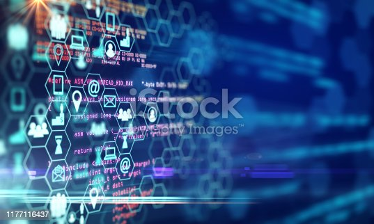 Creative digital blue business interface on blurry background. Innovation and science concept. 3D Rendering