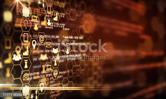 Creative digital orange business interface on blurry background. Innovation and technology concept. 3D Rendering