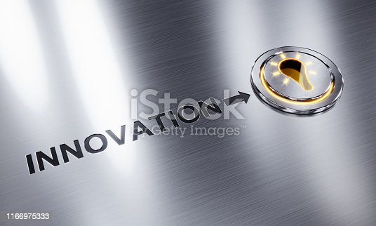 A glowing lightbulb button symbolizing innovation. ( 3d render )