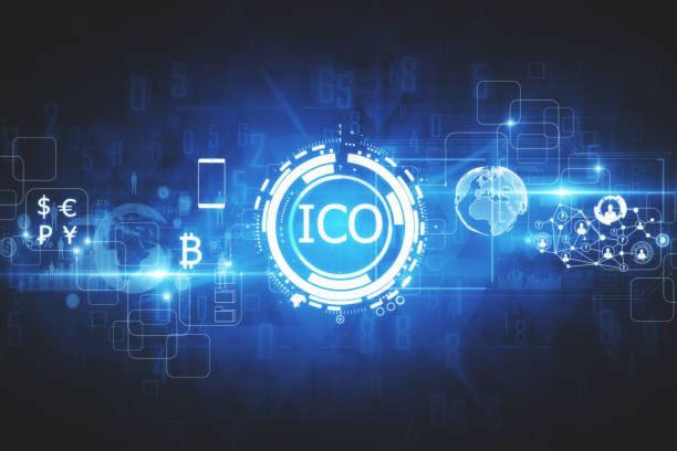 Innovation concept Abstract glowing digital currency button ICO initial coin offering on virtual digital electronic user interface. Investment concept. 3D Rendering initial coin offering stock pictures, royalty-free photos & images