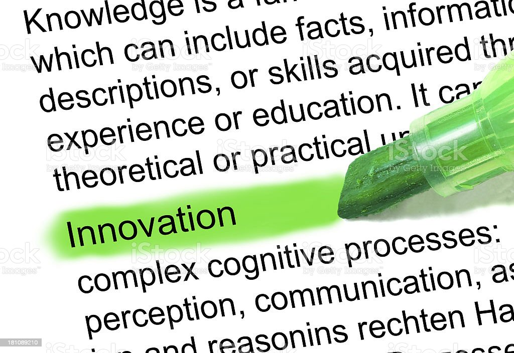 innovation definition marked in dictionary stock photo
