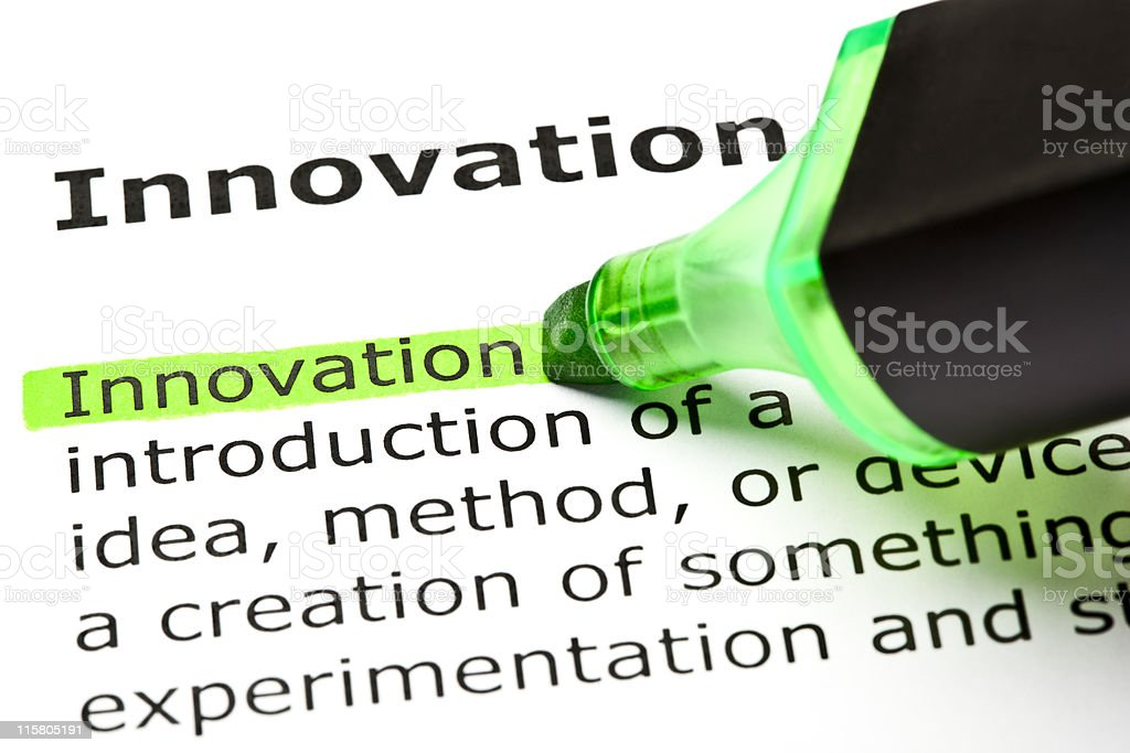 'Innovation' highlighted in green royalty-free stock photo