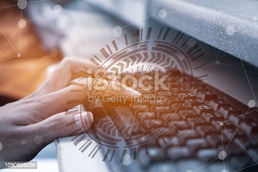 520592332istockphoto Innovation technology business for simulation Futuristic concept. Businessman pressing digital HUD screen button touching presented symbol connected icons over technologies. Idea on Internet of things 1090869056