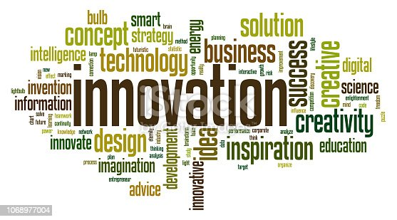 Innovation word cloud concept on white background, 3d rendering.