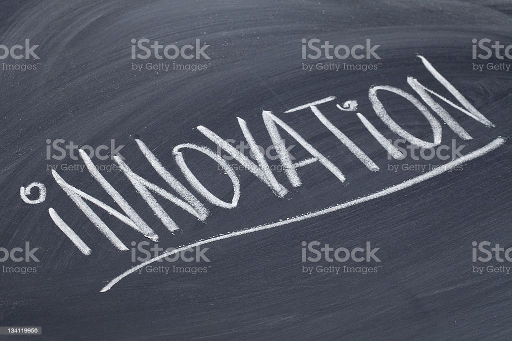 innovation word on blackboard royalty-free stock photo