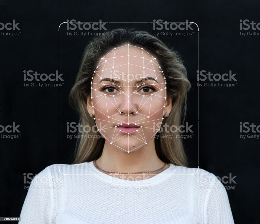 Innovations and technology biometric verification and face detection stock photo