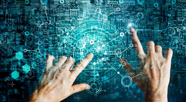 Innovations systems connecting people and intelligence devices. Futuristic technology networking and data exchanges connection and computer industry from telecommunication and internet development. stock photo