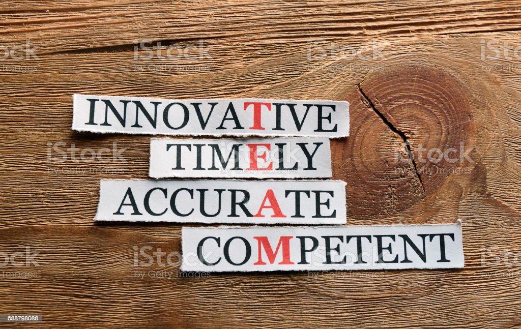 innovative accurate  team acronym stock photo
