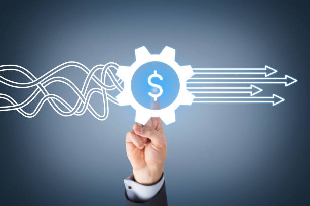 Innovative finance solution concepts on touch screen stock photo