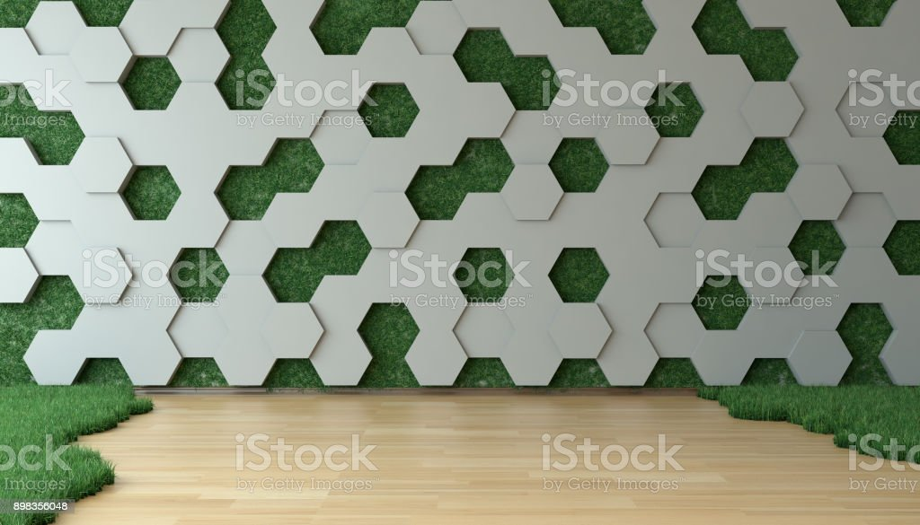 Innovative Grassy Room With Vertical Garden Wall stock photo