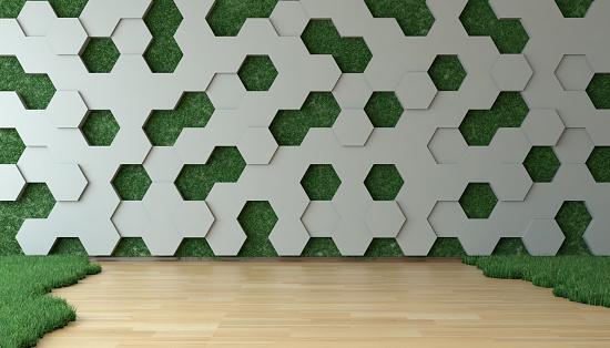 Innovative Grasbewachsenen Zimmer Mit Vertical Garden Wall Stockfoto und mehr Bilder von Abstrakt