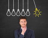 istock Innovative idea concept on blackboard background 615499492