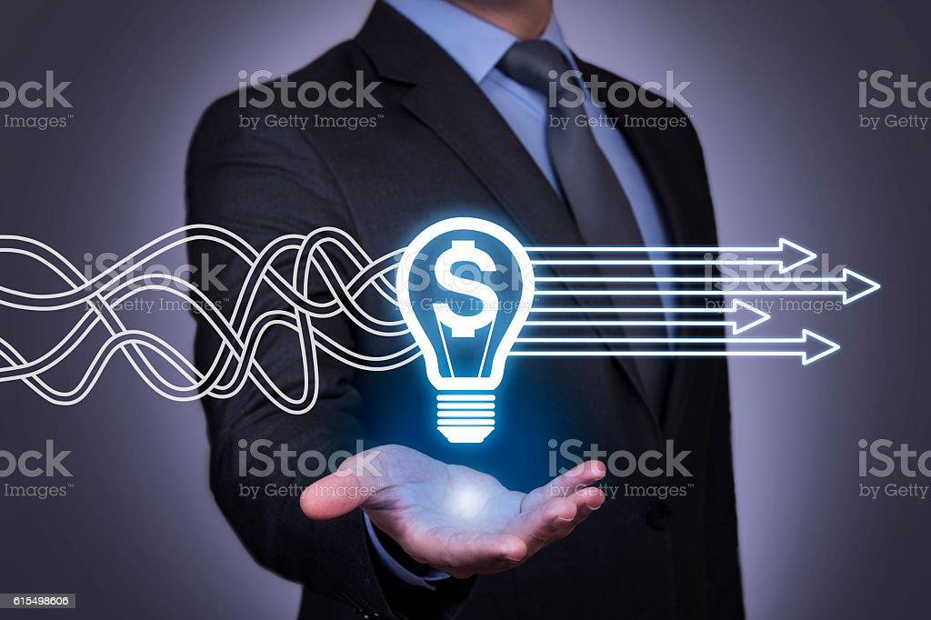 Innovative idea finance solution concept on touch screen stock photo