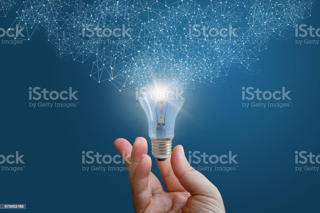 Innovative idea in businessman hand. stock photo
