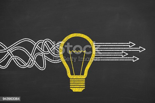 istock Innovative idea solution concept on blackboard 943963064