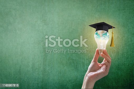istock Innovative learning, creative educational study concept for graduation and school student success with world lightbulb on teacher chalkboard 1165957815