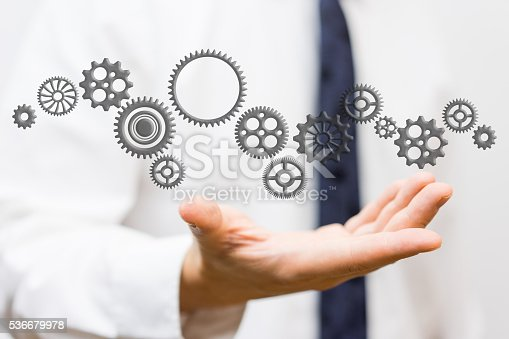 istock innovator showing connected sprockets,  ideas and changing technologies 536679978