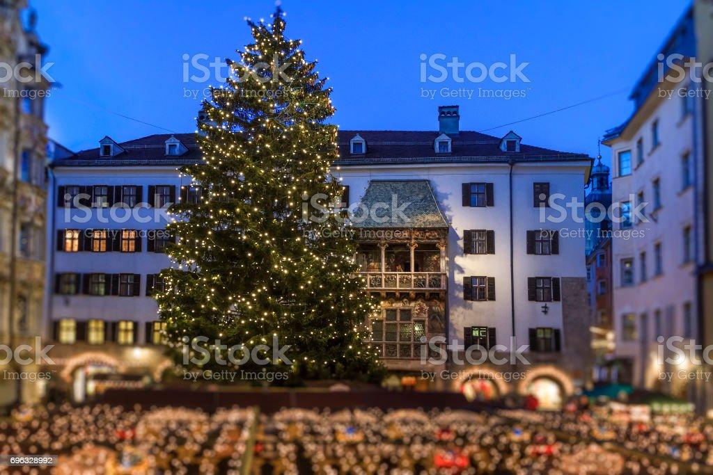 Innsbruck At Christmas The Goldenes Dachl Austria Stock Photo More