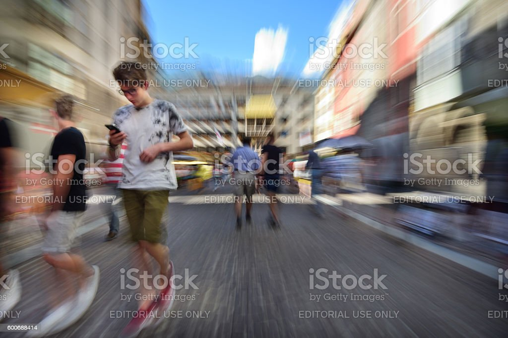 Innsbruck main shopping street, zoom and motion blur stock photo