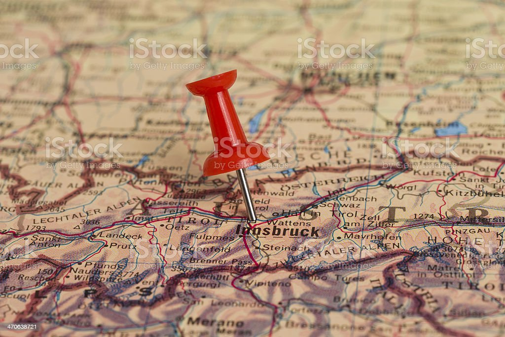 Innsbruck Marked With Red Pushpin on Map stock photo