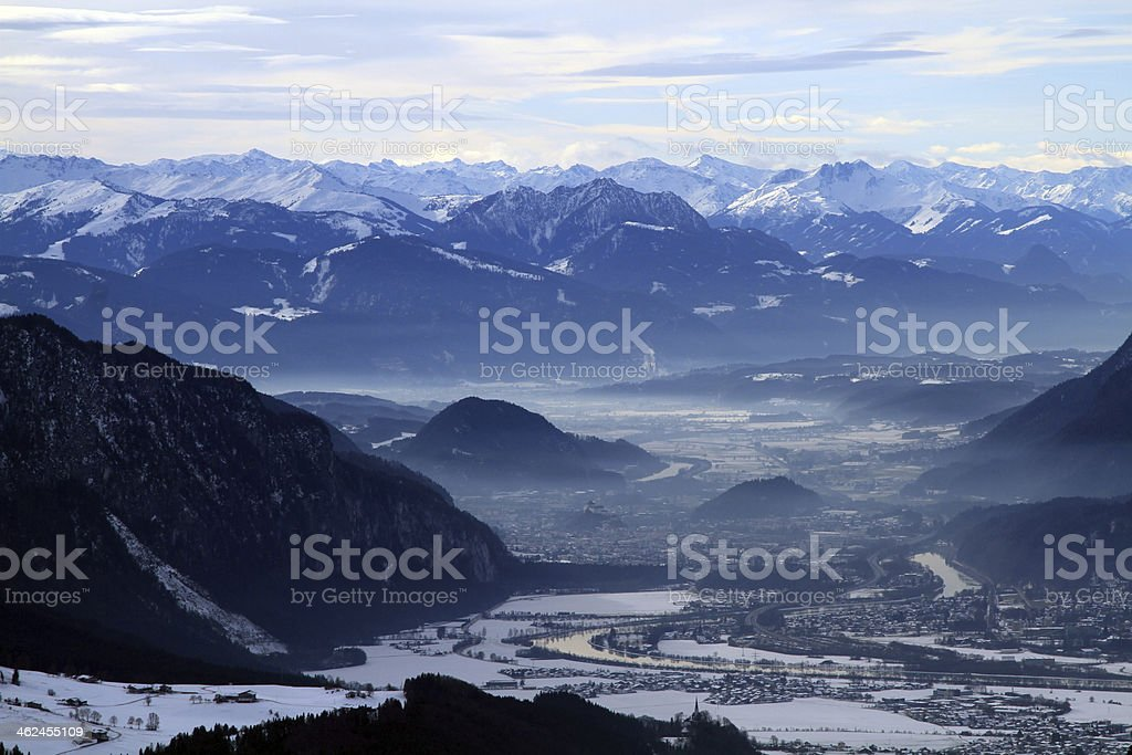 Inntal with Innsbruck in winter stock photo