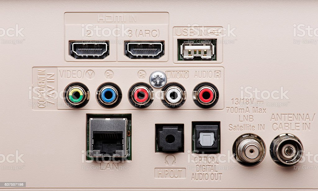 Input and output connectors TV panel stock photo