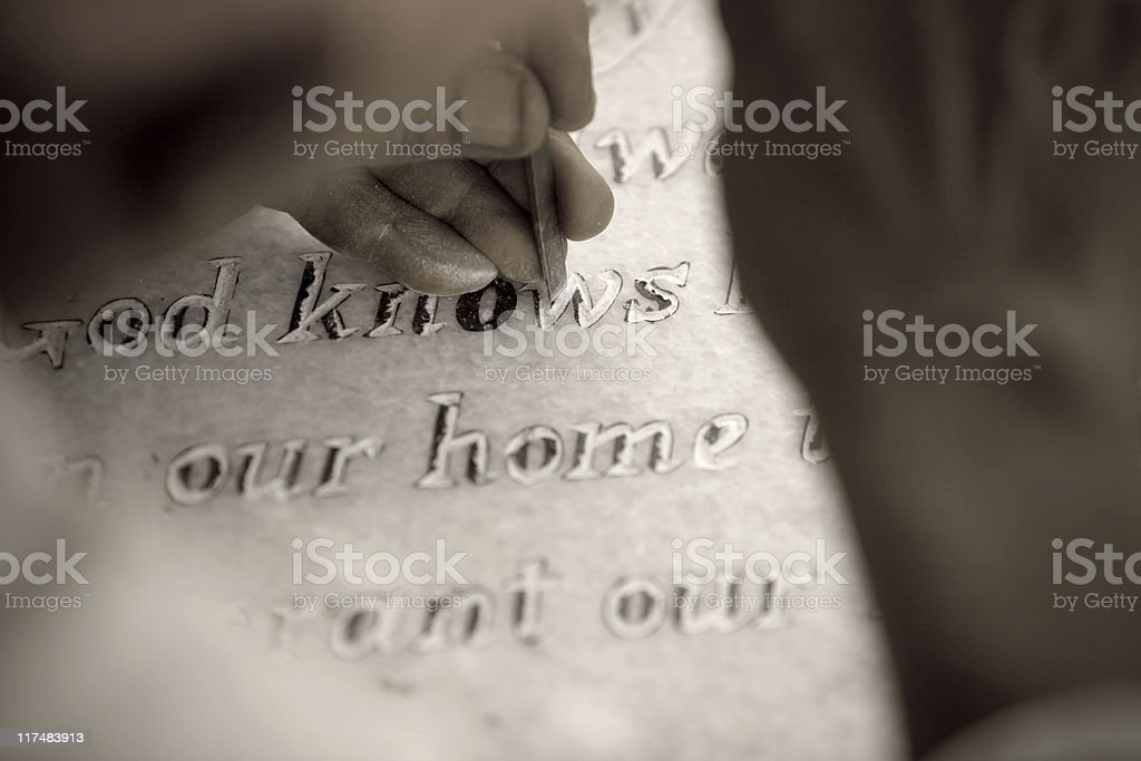 Inscribed on Stone stock photo