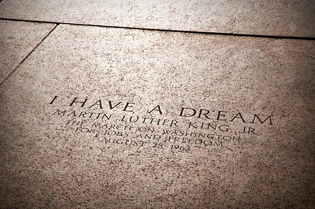 "MLK Jr's I Have a Dream speech location ""I HAVE A DREAM"" inscribed on the floor of the Lincoln Memorial from which Martin Luther King Jr. delivered his famous I Have A Dream speech in Washington D.C. mlk stock pictures, royalty-free photos & images"